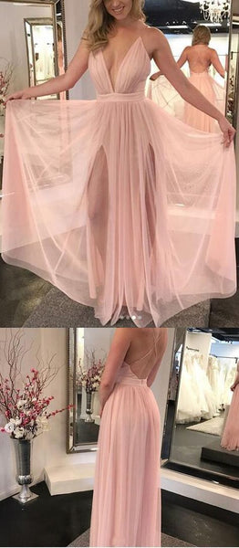 Elegant A-Line Deep V-Neck Sleeveless Pink Floor Length Prom/Evening Dress,B52