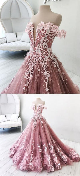Dreamy pink off shoulder prom party dresses, gorgeous beaded evening gowns with feather, chic fashion formal gowns,JJ533