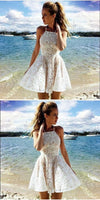 A-line Halter Lace Ivory Short Prom Dress Party Dress simple popular homecoming dresses , JJ536