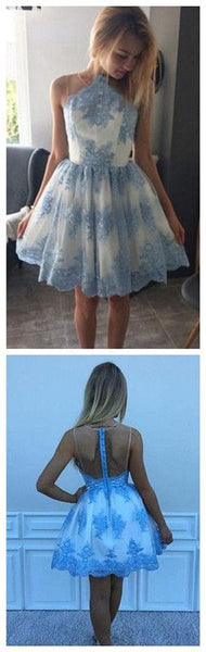 Blue Lace Appliqued Mini Homecoming Dress, A Line Sleeveless Tulle Short Prom Dress,JJ537