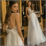 Sexy V-Neck Wedding dress Lace A-Line Backless Floor Length Bridal Gown Cheap,prom dress ,5425