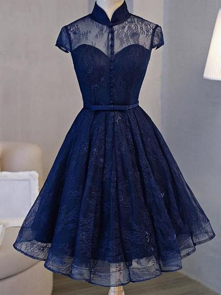 A-line High-Neck Mini Tulle Short Homecoming Dresses JJ546