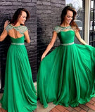 Green A-line round neck long prom dress, green formal dress Green A-line round neck long prom ,5480