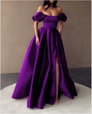 Sexy Off The Shoulder Long Satin Dresses With Slit,prom dress ,5485