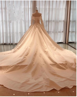 Vintage Wedding Dress Satin Long Sleeves Ball Gown Off Shoulder,prom dress ,5499