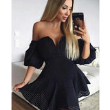Sexy Little Black Off the Shoulder Lovely Cocktail Homecoming Dresses, JJ54