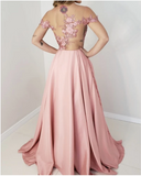 Lace Embroidery Satin Prom Dresses Off Shoulder,prom dress ,5501