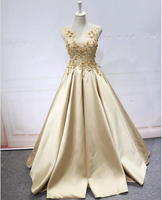 Lace Flowers Beaded Satin Ball Gown Prom Dresses,5502