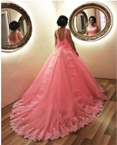 Blush Pink Wedding Dresses Tulle Ball Gown With Bow,prom dress ,5508