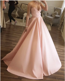 Strapless Floor Length Ball Gown Prom Dresses Satin,5510