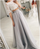 Two Piece Wedding Dresses Tulle Floor Length With Lace Crop,prom dress ,5515