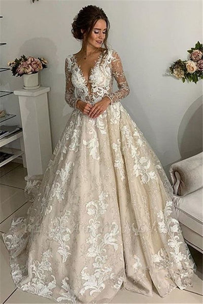 Glamorous Lace Appliques V-Neck Wedding Dresses | Long Sleeves Backless Floral Bridal Gowns,prom dress ,5535