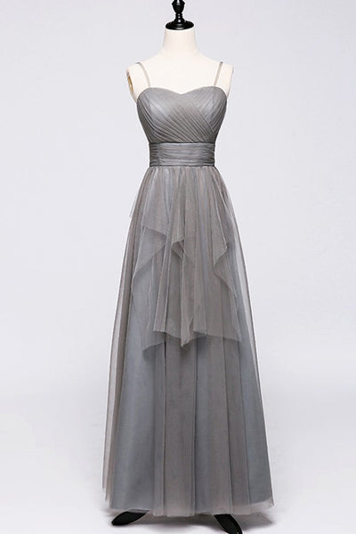 Simple Gray Tulle Bridesmaid Dress, Long Prom Dress,5543