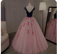 Floral Prom Gowns Navy Blue With Coral Pink Ball Gowns,prom dress ,5549