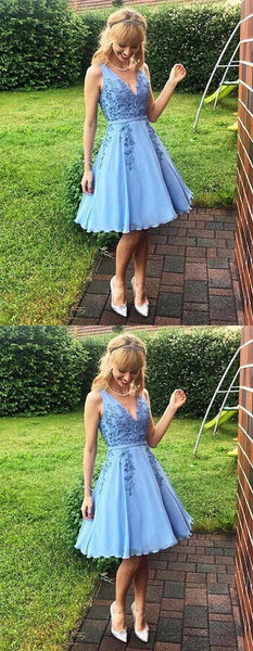 Blue V Neck Sleeveless A Line Homecoming Dresses With Lace Appliques,JJ554