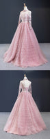 Pink Tulle V Neck Customize Long A Line Senior Prom Dress With Applique,5552