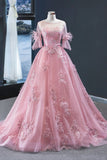 Unique Pink Tulle lace Mid Sleeve Long A Line Formal Prom Dress, Evening Dress,5553