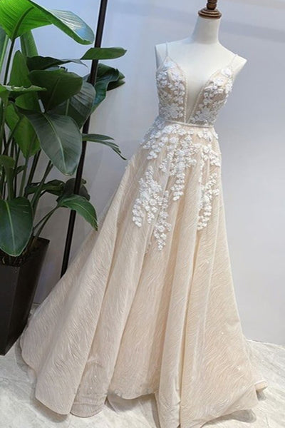 Light Champagne Lace V Neck 3D Flower Lace Dress, Formal Prom Dress,5560