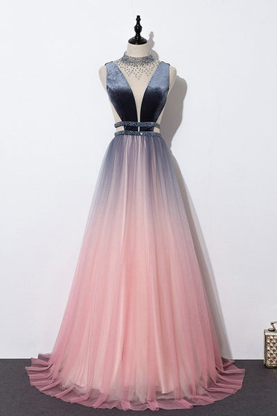 Unique Pink Tulle Long O Neck Beaded Prom Dress, Evening Dress,5568