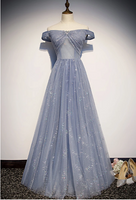 Strapless Blue Tulle Beaded Long A Line Off Shoulder Prom Dress, Evening Dress,5569