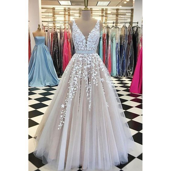 V neck Prom Dresses,Tulle Wedding Dresses,Lace Prom Dresses,Long Wedding Dress,5576