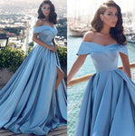 Blue Off Shoulder A line Simple Long Evening Prom Dresses, Cheap Custom Party Prom Dresses, JJ557
