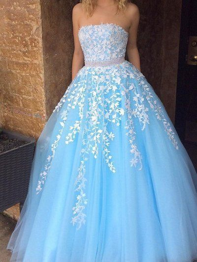 Sky Blue Princess Strapless White Lace Applique Tulle Prom Dress with Beading,5585