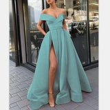 A-Line Elegant Blue Charming Free Custom Long Women Formal Prom Dresse,Evening Gowns with Split ,5593