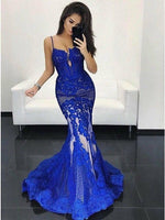 Mermaid Spaghetti Straps Royal Blue Tulle Prom Dress with Appliques,5596
