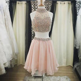 Two Pieces Pink Beaded Halter Lovely Homecoming Dresses, JJ55