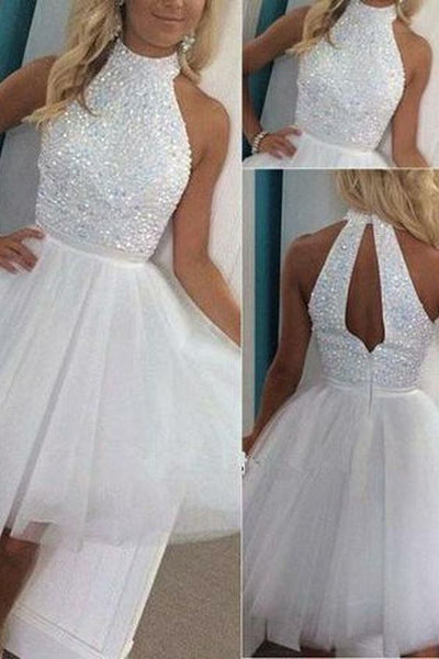 High Neck Open Back Homecoming Dress White Tulle Beadings Short Party Dress,JJ560