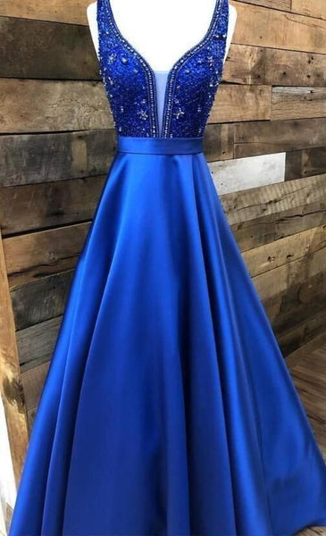 Prom Dress Ball Gown, royal blue satin long prom dress party dress ,5629