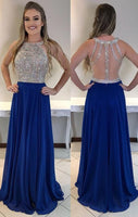 Gorgeous Crystal Beading Royal Blue Long Prom Dress ,5633