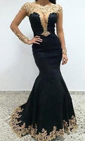 Sexy Black Lace Long Sleeves Long Mermaid Prom Dresses Evening Dresses,5642