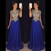 Royal Blue Prom Dresses, Cap Sleeve Illusion Crystal Beaded Prom Dress, Wholesale Chiffon Prom Dresses,5647