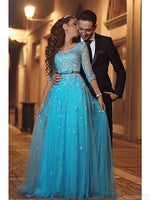 A-line Prom Dresses,Appliques Prom Dresses,Blue Prom Dresses,1/2 Long Sleeves Prom Dresses, Prom Dresses,Evening Dresses,Party Dresses,5655