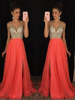 A-Line Chiffon V-Neck Sleeveless Floor-Length With Beading Dresses,prom dress,5657
