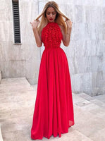 Princess Prom Dresses, Elegant Red Chiffon Ruched Sleeves Long Prom Party Dress That Bridal,5663