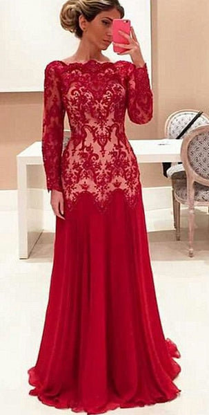 lace prom dress ,red,5665