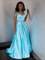 Off Shoulder Blue Beaded A-line Cheap Evening Prom Dresses, Sweet 16 Dresses,5671