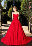 Spaghetti Straps Red Lace Long Prom Dress,5679
