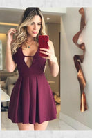Soft A-Line Homecoming Dresses, A-Line V-Neck Short Grape Pleated Satin Homecoming Dress,JJ573