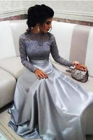 Modest Silver Lace Evening Dresses with Long Sleeves Vintage High Neck Prom Dress Elegant Floor Length A-line Special Occasion Dress,5747