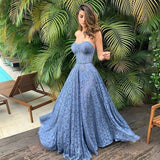 Blue Lace Prom Dresses,Sweetheart A-line Evening Dresses ,,5751