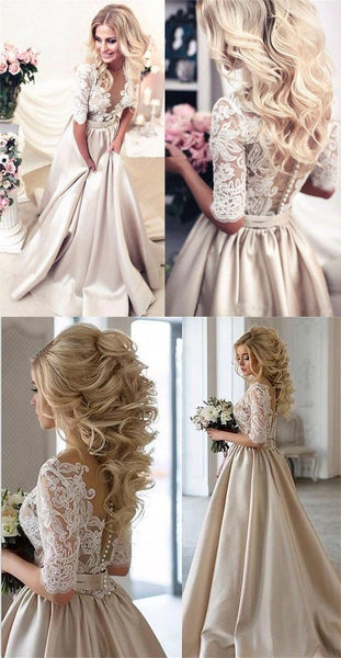 Charming New Arrival Half Sleeves Lace Top Soft Beautiful Simple Wedding Dress,prom dress ,5779