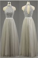 Silver Formal Dresses, Long Prom Dresses, High Neck Gray Party Gowns, Fashion Tulle Beading Prom Dresses,5783