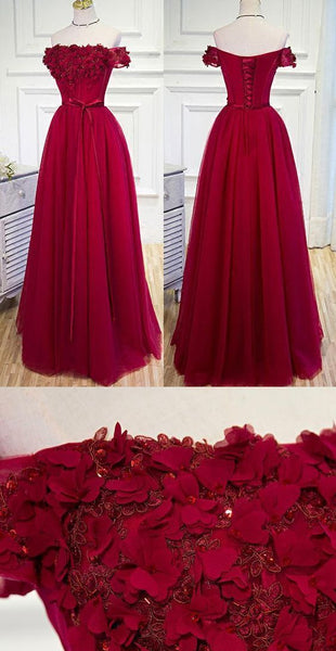 Off-the-Shoulder Prom Dresses, Burgundy Long Prom Dresses, Prom Dresses Burgundy Hand-Made Flower Prom Dress/Evening Dress,5798