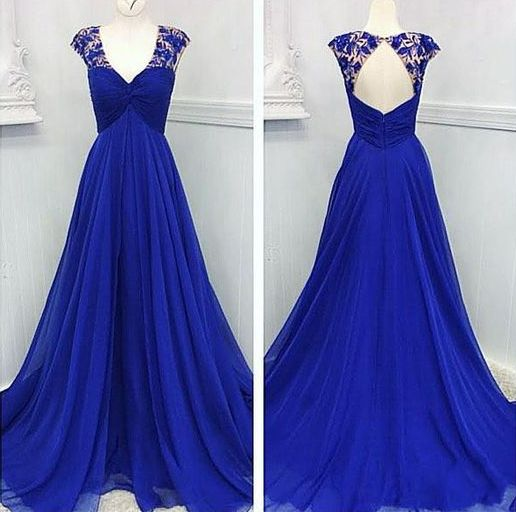Custom Made Royal Blue Prom Dress,Chiffon Sleeveless Evening Dress,Sexy Backless Hole Prom Dress,JJ583