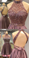 Halter Beaded Open Back Short Homecoming Dress 2019 Custom Made Satin Beadings Cocktail Dress Fashion Sequins Sweet 16th Dress Short School Dance Dress,JJ585