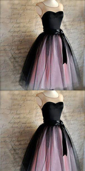 Sweetheart Sleeveless Black Tulle Homecoming Dresses,JJ587